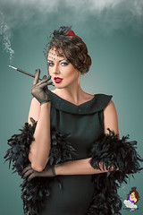40407414 (harleystone75) Tags: smoke smoking cigarette holder lady vintage classic classy dress brunette hair makeup lips eyes gloves lace feather boa