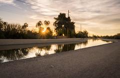 Canal Sunset (walpert17) Tags: hdr canal phoenix arizona sunset water reflection sand desert trees sky clouds warm
