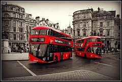 Two sides to every 2 'Storey' Bus! (Jason 87030) Tags: greatbritain red england bus london modern photoshop buildings fun mono artistic unitedkingdom trafalgarsquare august routemaster 12 publictransport doubledecker oxfordcircus dulwichlibrary 2015 lt140 lt138