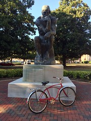 I Think, Therefore I Ride (The Goat Whisperer) Tags: red bike bicycle ride thinker le 1968 schwinn barney cruiser penseur