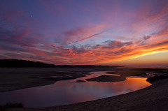Crescent Moon Fanfare (brucetopher) Tags: pink blue sunset shadow red sky moon reflection beach weather silhouette yellow river mirror sand skies shadows tide crescent flats tidal waxing afterglow crescentmoon brucetopher