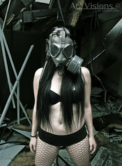 2014 (RottenStagg) Tags: portrait woman sexy abandoned girl beauty eyes nikon ruins mask edited fishnet gasmask destroyed 2014 apocalipsis apocalypsis maskgas