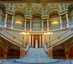 Romanian Athenaeum interior (Betino Miclea) Tags: light panorama sculpture music colors wall architecture stairs concert nikon colours interior pillar columns romania 1750 classical inside column pillars tamron bucharest bucuresti romanian ateneu athenaeum d7100 vertorama