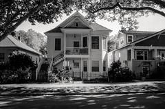 a moment of still (Super G) Tags: street door trees blackandwhite bw house home window 35mm porch gable selfdeveloped kodaktmax100 olympusom4 zuiko28mmf28 d7695mins68d11 20150622om4tmax100
