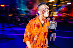 Laughing Off Zombies at USJ (Jake in Japan) Tags: street halloween night costume zombie candid flash streetphotography   osaka usj universalstudiosjapan            a6000   sel24f18z  sonye24mmf18za 6000 ilce6000 jakejung