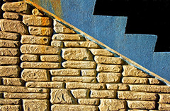 Shapes And Forms Of Station Stairway (gmsphoto) Tags: stilllife art stone wall stairs contrast support colorful random outdoor geometry steps shapes angles wallart structure safety harmony repetition strong balance strength form transition decor craftsmanship sawtooth integrity constrasts