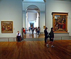 Long Day with the Tourists (EmperorNorton47) Tags: autumn england london art fall digital photo gallery artgallery unitedkingdom interior paintings guard tourists nationalgallery
