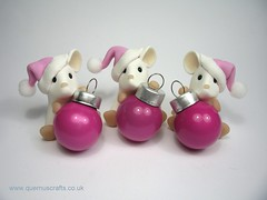 Little Pink Santa Bauble Mice (Quernus Crafts) Tags: christmas pink cute decoration mice polymerclay ornament santahat bauble quernuscrafts