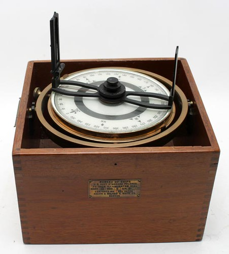 U.S. Navy Standard Pelorus ship's navigation instrument; Kelvin and Wilfrid White Sextant; Keuffel and Esser Planimeter ($212.80, $212.80, $190.40)