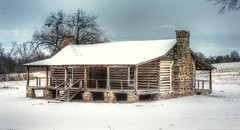 Snowy Fort Gibson Cabin (clarkcg photography) Tags: fortgibson cabin stockade 1850s snow winter cold weather logs stones chimney porch rural country