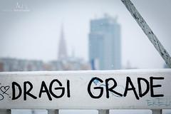 Dragi Grade (My dear town...) (v.Haramustek) Tags: dragigrade deartown osijek croatia slavonija bridge sign text detail outdoor winter snow freeze white
