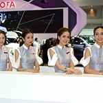 The beautiful presenters for Toyota at the 33rd Thailand International Motor Expo at IMPACT Challenger in Mueang Thong Thani, Nonthaburi, Thailand thumbnail