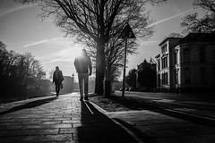 Shadow hunting @ Zwolle (PaulHoo) Tags: fuji fujifilm 2017 bw monochrome blackandwhite zwolle city urban citylife shadow light contrast vignette vignetting pavement road street candid streetphotography backlit holland netherlands