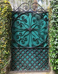 Garden gate, canvas-covered for privacy, 0 Gibbes Street, Charleston, SC (Hunky Punk) Tags: gate wroughtiron garden covered privacy canvas teal gibbes street charleston sc southcarolina