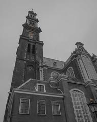 Westerkerk (Ian M Bentley) Tags: netherlands holland amsterdam westerkerk jordaandistrict 16thcentury prinsengrachtcanal olympus omd em5ii zuikopro1240mm dutchrenaissancestyle colour monochrome blackandwhite