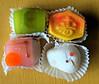 Fluorescent Japanese New Years Treats (sjrankin) Tags: 17january2017 edited food closeup hdr japan hokkaido yubari table mochi sweets pastry treat newyears oshogatsu colorful