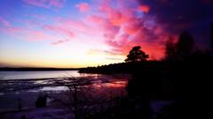 January sunset. (Papa Razzi1) Tags: 8588 2017 013365 january sunset winter colors wermdö 327pm xperiax orton grisslinge havsbad sea ice