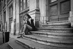 On Stairs... (YVON B) Tags: candide street blackwhite leica m2 monochrome people portrait life lyon girl stairs urban summaron kodak