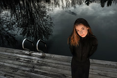 Shadow Lake (drei88) Tags: dark darkness forlorn reflections lake offseason bleak girl dock evening sunset cold february clouds foreboding