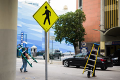 Across and Up (Michael Goldrei (microsketch)) Tags: festival roadsigns m typ240 photos ladders leica st crossing photography cross miami signs downtown photo mp type240 december florida men type man ladder dec typ road 240 street roadsign 16 2016 sign photographer fl