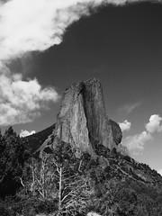 Needle Rock in black and white (jimsawthat) Tags: sky blackandwhite mountains rural colorado erosion highdesert geology volcanic crawford volcanicplug westelkmountains