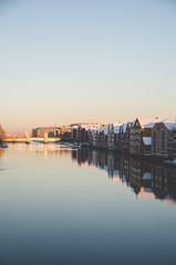 Nidelva (Jaime Prez) Tags: winter sunset snow sol norway river de norge vinter agua nieve noruega invierno puestadesol puesta trondheim srtrndelag nidelva elv noreg