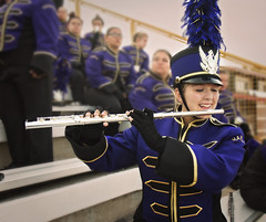 This is my daughter. This is her happy place. (praline3001) Tags: school music game girl happy football high louisiana uniform purple stadium joy band flute explore instrument marching teenager entertainer fans stcharlesparish hahnville