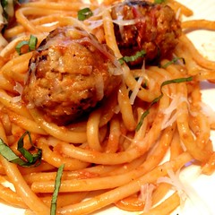 "Homemade spaghetti and meatballs are what's for dinner at our family table tonight. This is just the sort of comfort food we need on this chilly October evening.   What's for dinner at your house tonight?  #1840Farm #FarmhouseKitchen #food • <a style=""font-size:0.8em;"" href=""http://www.flickr.com/photos/54958436@N05/21960614631/"" target=""_blank"">View on Flickr</a>"