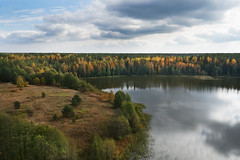 Lake in yellow (aburlakov) Tags: autumn red sky lake fall aerial yallow vdovetc