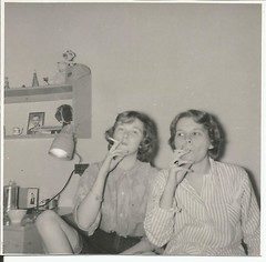 Doublemint Twins, 1959 (STUDIOZ7) Tags: girls bedroom women fifties cigarette suburbia teenagers teens smoking highschool 1950s 50s smoker teenage