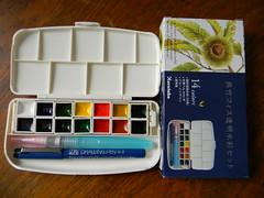 呉竹 フィス透明水彩セット  Kuretake Phys Transparent Watercolor Set (NaoCan) Tags: pen painting outdoor drawing watercolors zig watercolours artsupplies kuretake sketchkit travelset 呉竹