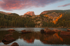Pink Clouds over Hallett Peak with Fall Color (Matt Thalman - Valley Man Photography) Tags: pink autumn trees mountain lake reflection fall water yellow clouds forest sunrise landscape nationalpark colorado rocks fallcolor peak fallfoliage aspen rockymountainnationalpark bearlake autumncolor hallett