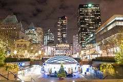 Robson Square Ice Rink and Plaza during the holiday season. 🎄 (Spencer Finlay) Tags: winter ice vancouver holidays bc skating christmasdecorations robsonstreet