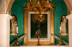 peeking through (Natalia Pikna) Tags: film church window analog gold small decoration symmetry ornaments fujifilm analogue ¨ zenith marieantoinettefeels
