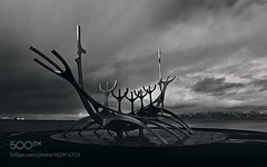 Sun Voyager (viece.remmington) Tags: ifttt 500px sky landscape sea black white art sculpture mountain cloud viking iceland sun voyager reykjavík