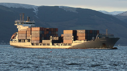 FRANCOP arriving at Greenock, Scotland with a load of containers from Belfast.