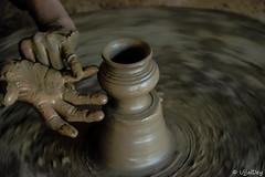 Pottery (ujjal dey) Tags: fujifilm india jan2017 jodhpur rajasthan ujjal ujjaldey xe2s ujjaldeyin potter pottery hands skilled mud clay pots art rotate baishnoi village shop slowspeed