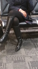 20170102_192033 (ph4eveh) Tags: sexy woman legs black boots tights flight attendant candid