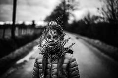 Portrait à la fougère d'hiver (PaxaMik) Tags: portrait portraitnoiretblanc noiretblanc noir n§b b§w black frenchportrait fougère route chemin road hiver winter gris grisaille froid balade contraste