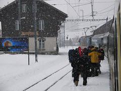 RD250.  MOB at Montbovon. (Ron Fisher) Tags: mob montreuxoberlandbernois switzerland suisse schmalspurbahn metregauge narrowgauge schweiz voieetroite transport publictransport snow rail railway ch winter train vehicle railroad