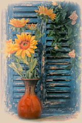 SL040217 Sunflowers 04 (Sh4un65_Artistry) Tags: artwork digitalart digitalpainting flowers painteffect paintedphoto painterly plants pottery stilllife textured topaz topazimpression topaztextureeffects windowsanddoorsetc woodwork