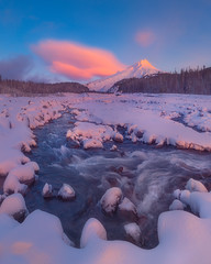 Mothership connection (Ben_Coffman) Tags: pacificnorthwest bencoffman bencoffmanphotography blue clouds fineartlandscape fineartphotography landscapephotography mthood mthoodterritory oregon pink snow sunrise whiteriver whiteriversnopark winter
