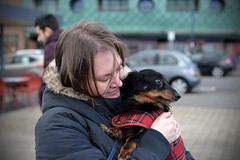 Mummy's Boy (Roger.C) Tags: dog pets dachshund woman girl love lovepets miniature littledog sausagedogs doxie doxielove cuddles porthcawl daysout nikon d610 50mm dof spoiled animals