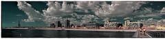Platja del Pont del Petroli (esquerra) (Ar@lee) Tags: pont puente nubes experience barcelona nikond50 d50 photographyinfrared espectrecomplet filtre720nm fullspectrum fotografíainfrarroja ir pontdelpetroli platja badalona fábrica anísdelmono catalunya