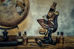 SL140117 Still Life Science 01 (Sh4un65_Artistry) Tags: artwork digitalart digitalpainting niksoftware painteffect paintedphoto painterly potteryandglass scientific stilllife textured topaz topazimpression topaztextureeffects globe microscope