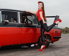 Holly FT   051 (Fast an' Bulbous) Tags: rollsroyce silvershadow drag race car fast speed power turbo british classic vehicle automobile outdoor people girl woman hot hotty sexy chick babe model pinup long brunette hair high heels stilettos shoes red tight black leather pvc jeans leggings