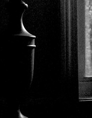 Lamp in black and white-lighted by window                1-L1000546 (LarryJ47) Tags: leicadigilux1 leica digilux2 lamp bw black white blackwhite window shape dim light