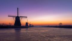 Kinderdijk Sunrise (Sjekster) Tags: kinderdijk windmill windmolen molen mill sunrise color colour netherlands nederland winter ice