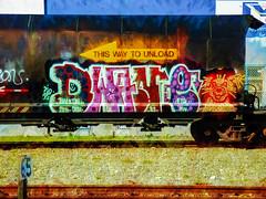Dog Tags (Steve Taylor (Photography)) Tags: art digital graffiti streetart tag colourful newzealand nz southisland canterbury christchurch animal dog texture train smoke wagon track thiswaytounload tanker railway rail 65
