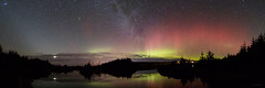 Distant Lights (Gordon Mackie) Tags: aurora northernlights milkyway zodiacallight venus reflection starryskies panorama lochan caithness scotland